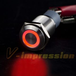16mm Red Neon Glow LED Ultra Flush Push Start Ring Switch Button Boat
