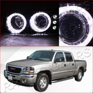 00 06 GMC Yukon Sierra Black Housing Dual Angel Eye LED Projector