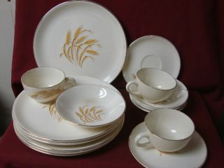 Homer laughlin China Dinnerware Golden Wheat 50 60 era set 15 piece