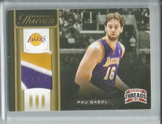 2012 13 Panini Threads Pau Gasol 3 Color Patch 5 25 Lakers