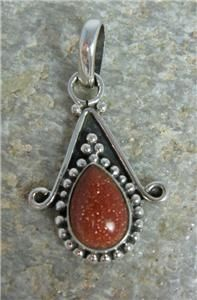 Goldstone Tear Drop Necklace Pendant Sterling Silver New