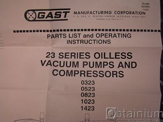 Gast 23 Series Vacuum Pump Vane Rebuild Kit K478 Unused
