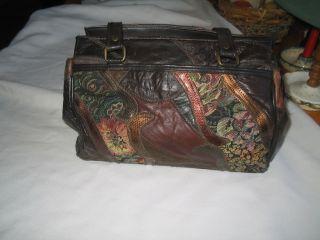 Faux Leather Handbag Purse Multi Color Handles