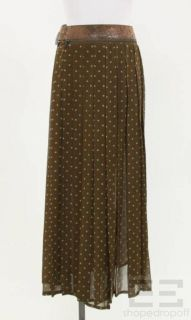 Jean Paul Gaultier Brown Blue Polka Dot Removable Belt Skirt Size 6