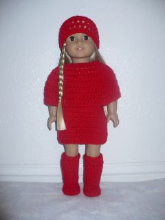 LOOK!! RED Outfit with GOGO BOOTS for American Girl or similar doll