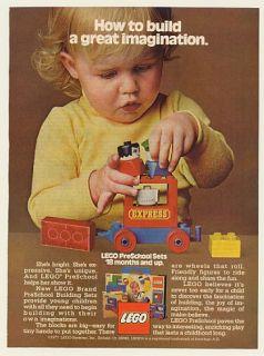 1977 Lego Preschool Building Sets Girl Train Print Ad