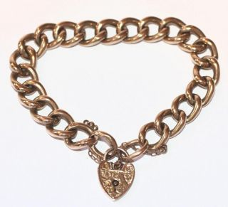 Victorian 9K Rose Gold Charm Bracelet Chased Padlock