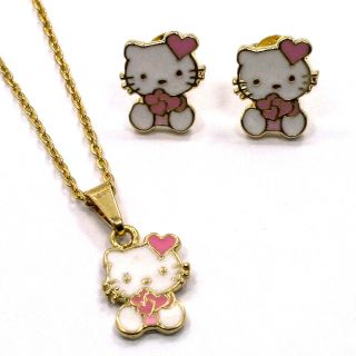 Gold 18K GF Earrings Girl Baby Pink Heart Hello Kitty Pendant Charm