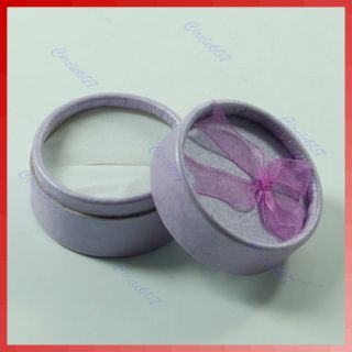 Small Round Jewellery Gift Package Ring Hard Boxes Case Purple