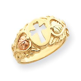10K Tri Color Gold Black Hills Gold Cross Ring Pick Your Size