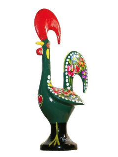 Green Good Luck Rooster Galo Barcelos Metal Figurine Handpainted