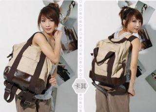 Girls Ladies Women Canvas Hobo Handbag Backpack School Bag Purse Khaki