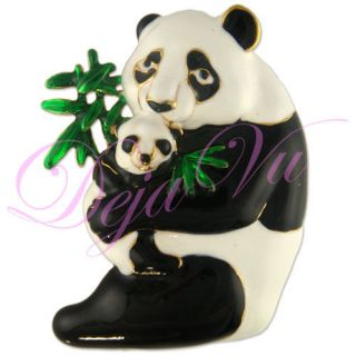 Gold Plated Double Panda Pin Brooch