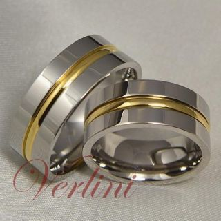 8mm Mens Womens Titanium Rings 14k Gold Matching Set Wedding Bands