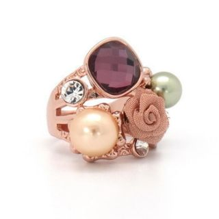 Rose Gold Plated with Rose Color Pearl Amethyst Ring