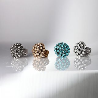 Gold Plated Chunky Spherical Rhinestone Stretch Dome Ring Champagne