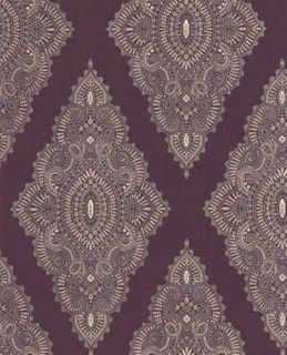 Designer Textured Damask Wallpaper Purple Gold