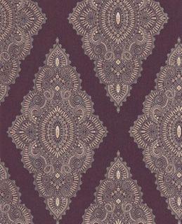 Designer Textured Damask Wallpaper Purple Gold