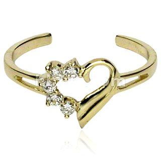10KT Solid Gold Toe Rings with Half Pave CZ Gemed Heart