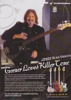 Lakland Geezer Butler Black Sabbath Bass Guitar Print Ad