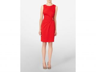 Calvin Klein Womens Ponte Dress with Gold Metal Buckle