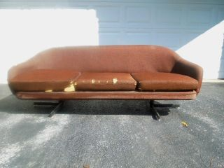 Vtg 60s Overman Pod Sofa Space Age Mod Googie Mid Century Atomic Ranch