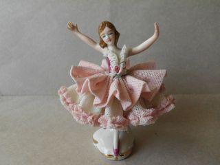 Mint Vintage Dresden Lace Porcelain Lady Figurine Germany