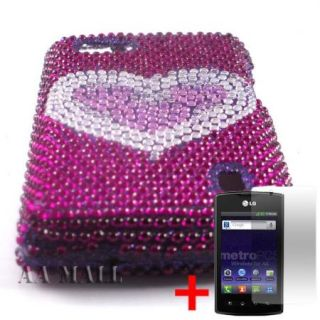 WHITE HEART PURPLE DIAMOND BLING GEM COVER HARD CASE LG OPTIMUS M+