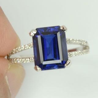 Kashmire Blue Sapphire White Sapp Sterling Silver 925 Ring Size 6 5 US