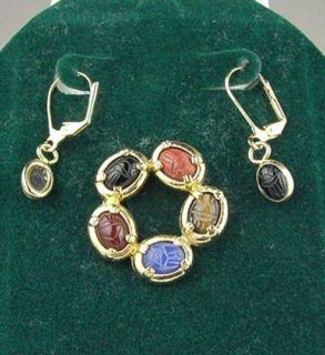 Gold Hge Gemstone Scarab Brooch Black Onyx Earring Set