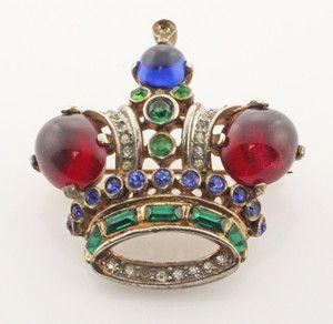Vintage Trifari Sterling, Gemstone & Rhinestone Crown Brooch