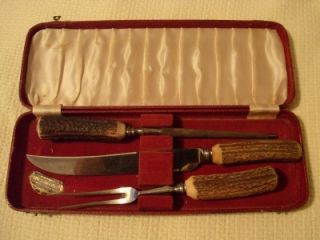 Vintage Gimbel Brothers Genuine Stag Horn Carving Set; Sheffield