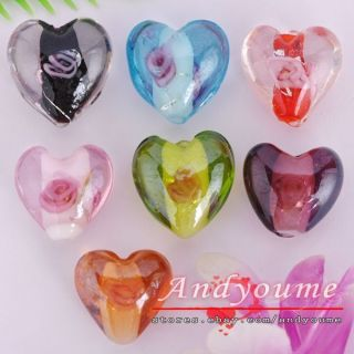 FREE SHIP 20pcs Mixed Color Lampwork Glass Heart Spacer Beads NS2758
