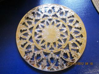 Silverplate w Glass Tea Coffee Trivet Hot Plate