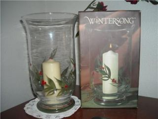 Large Glass Christmas Hurricane Candle Holder Wintersong Hand Painted