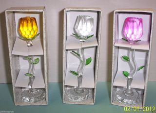 Crystal Glass Roses on Stems Pink Clear Yellow in Boxes Brand New