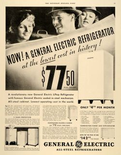 Steel Refrigerators General Electric Range Original Advertising