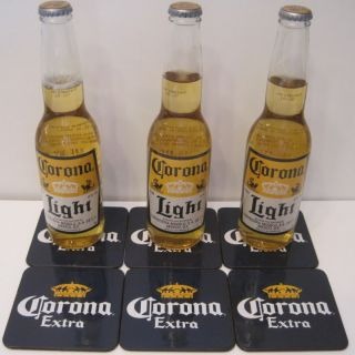 Cerveza Beer Bottle Glass Bottle Bar Table Drink Coaster Mats Set 6