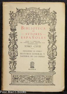 Historia General Y Natural de Las Indias Ct in 5 Vols 1959 Literature