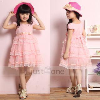 Pretty Kids Girls Sweet Light Pink Ribbon Bow Lace Ruffles Princess