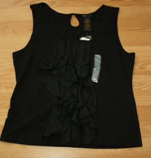 NWT Womens GRACE ELEMENTS Sleeveless Black Ruffle Tank Shirt Size XL