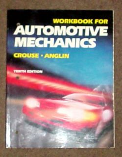 Glencoe Automotive Mechanics Workbook Auto Shop Car Repair Mechanic