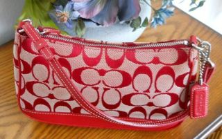 Coach Red Signature Leather Demi Pouch Clutch Handbag Purse 6094