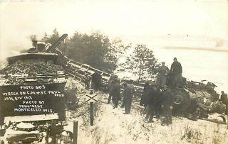 Wi Monticello Train Wreck 1913 C M St Paul Railroad Snow RPPC K47865