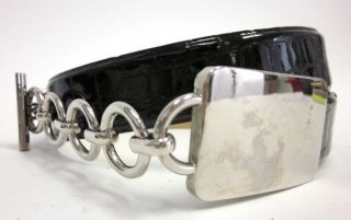 Sally Gissing Black Leather Silver Chain Buckle Belt 28