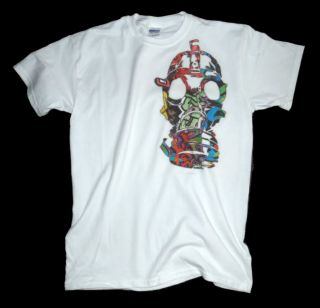 White Graffiti Gas Mask T Shirt Krylon Paint Spray Can Shirt Urban