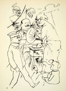 Lithograph Record Player Music George Grosz Figures Woman Child Bird