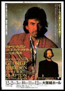 George Harrison Eric Clapton Original Concert Handbill Flyer 1991
