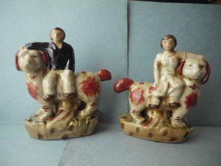 Antique or Vintage Porcelain Man Lady on Dogs STAFFORDSHIRE Crackle