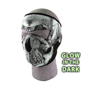 Skull Neoprene Face Mask Glow in The Dark